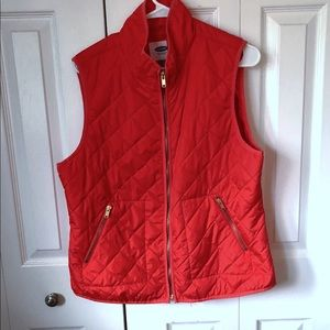 Old Navy Quilted Vest Size Large Orangish Red